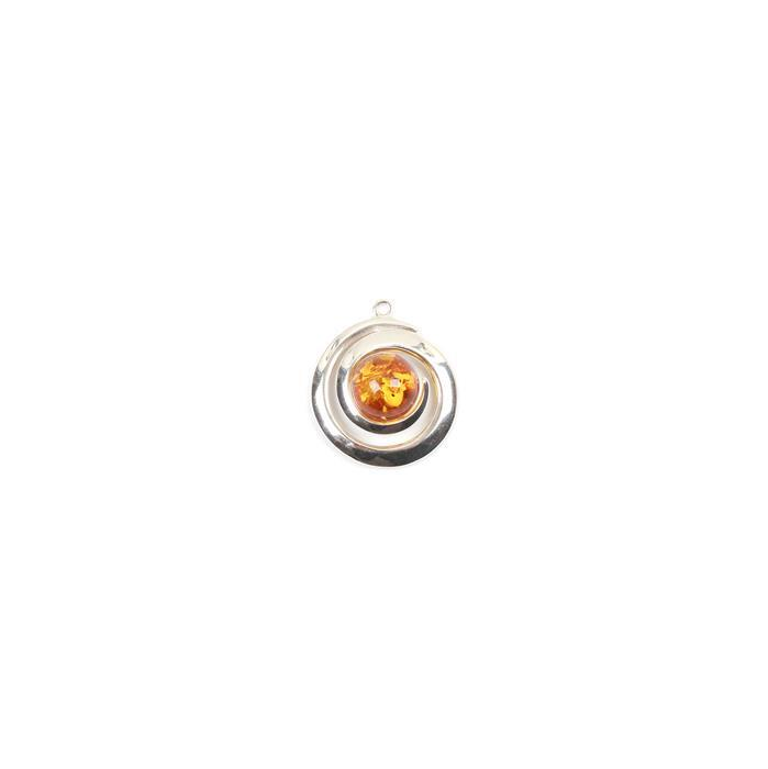 Baltic Cognac Amber Swirl Sterling Silver Pendant Approx 17x14mm