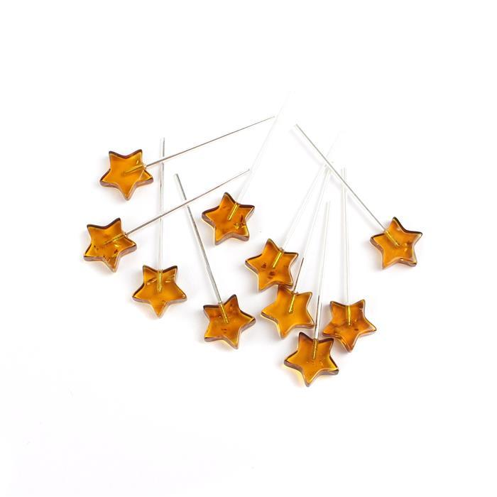 Baltic Cognac Amber Sterling Silver Star Headpins, Approx 32mm (10pk)
