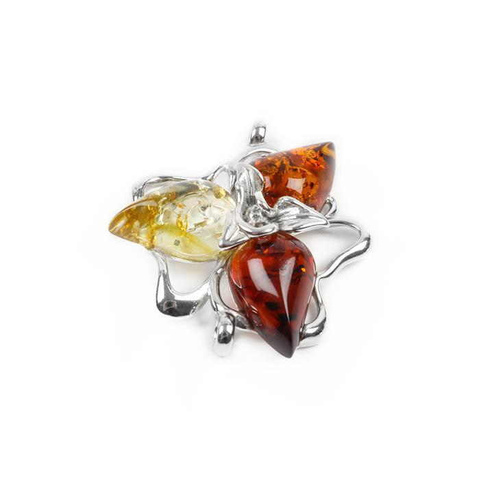 Baltic Multicolour Amber Sterling Silver Flower Connector Approx 30x28mm
