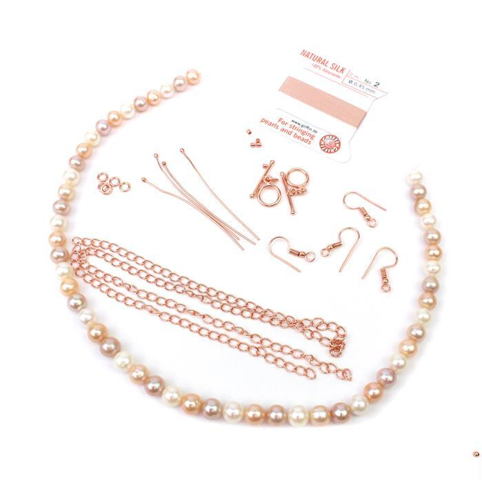 Pink Blossoms:Multi-colour Freshwater Near Round Pearls,Rose Gold plt findings & thread