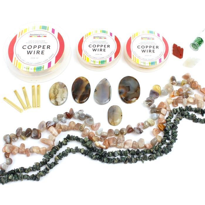Gemma's Challange, INC Sunstone, Zebra Jasper & Botswana Agate Nuggets, Leaf Pendants & More