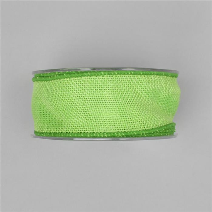 10M Lime Green Eleganza Country Hessian Approx 38mm