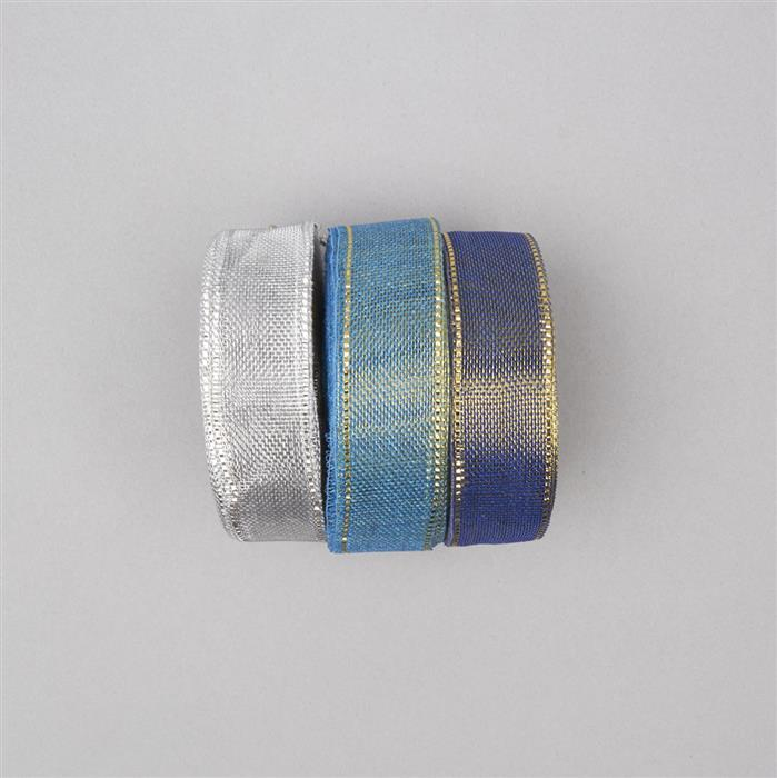 30m Light Blue, Dark Blue & Silver Colour Ribbons width approx 18mm (3pcs)