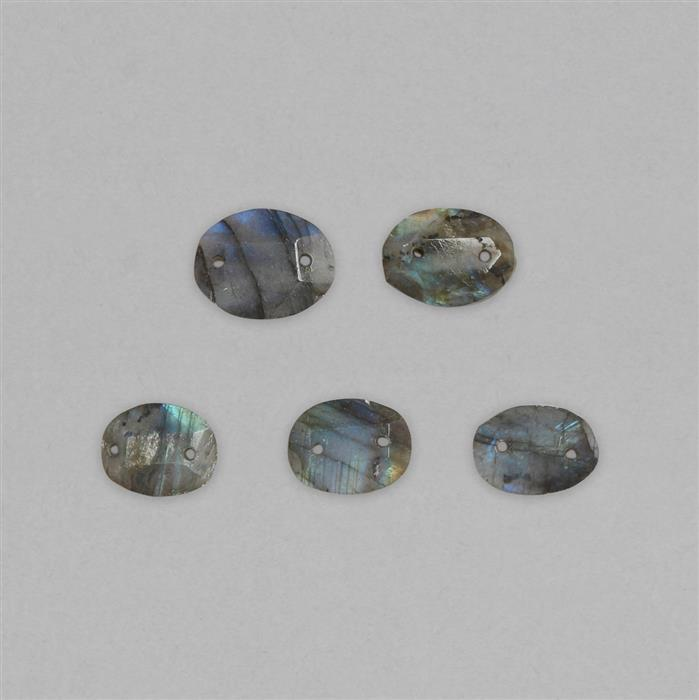 60cts Labradorite Double Side Drilled Faceted Oval Cabochons Approx 15x12 to 20x15mm (5pcs).