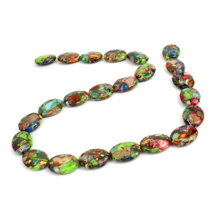 180cts Multicolour Jasper Puffy Ovals Approx 13X18 mm, 38cm