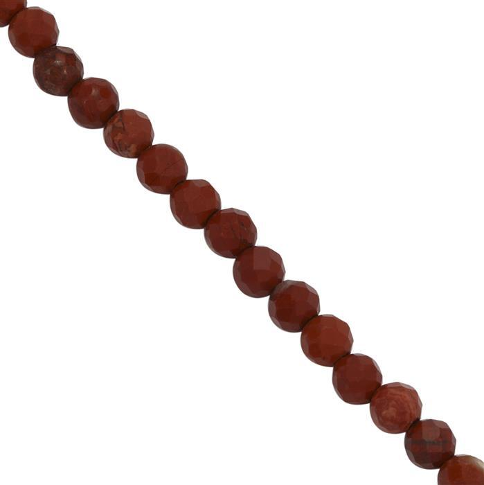 20cts Red Jasper Faceted Round Seed Beads Approx 3mm, 38cm Strand