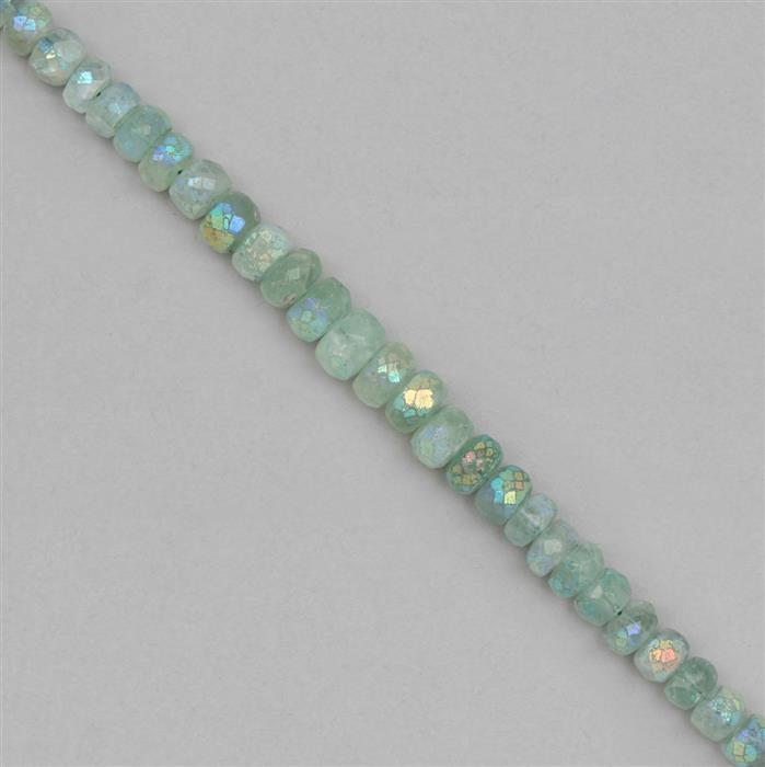 105cts Coated Green Fluorite Graduated Faceted Rondelles Approx 5x2 to 9x5mm, 18cm Strand.