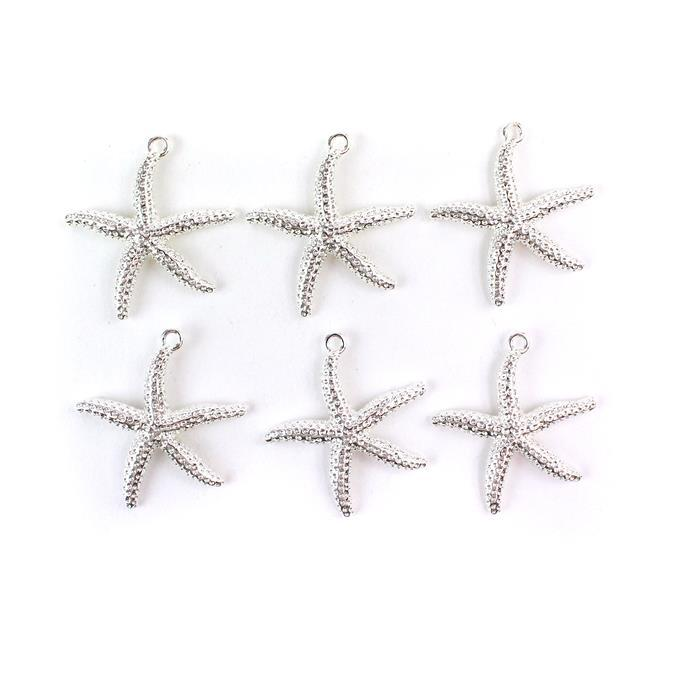 Silver Plated Base Metal Starfish Pendants, Approx 35x32mm (6pcs)