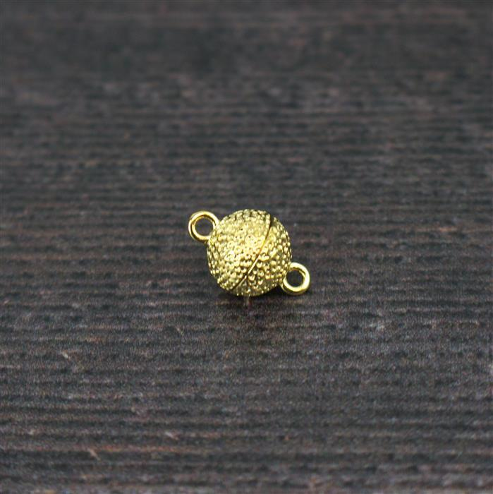 Gold Plated 925 Sterling Silver Hammer Effect Magnetic Ball Clasp Approx. 15x10mm