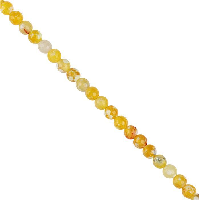 82cts Yellow Banded Agate Faceted Rounds Approx 8mm, 18cm Strand.