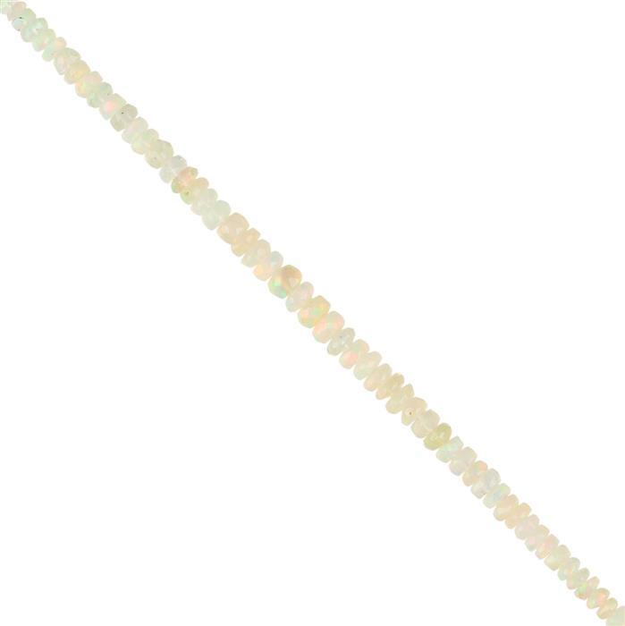 10cts Ethiopian Opal Graduated Faceted Rondelles Approx 2x1 to 4x2mm, 10cm Strand.