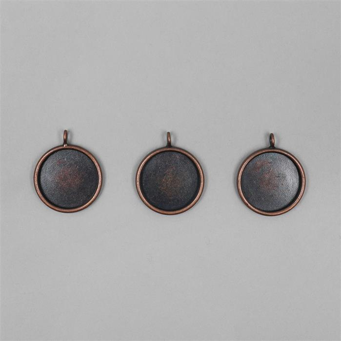 Antique Copper Plated Round Bezel Pendants Approx 20mm - 3pcs