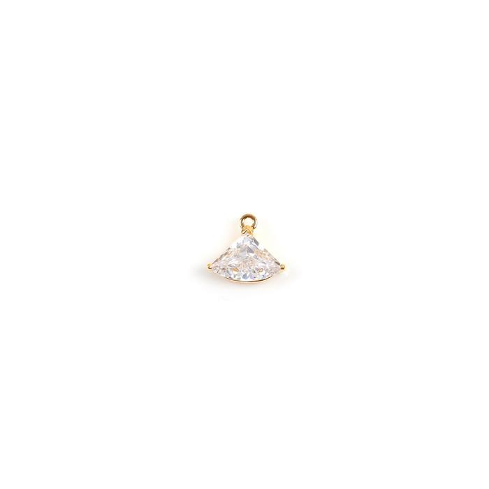 Gold Plated 925 Sterling Silver Fan Shape Cubic Zirconia Charm, Approx 11x13mm, 1pcs