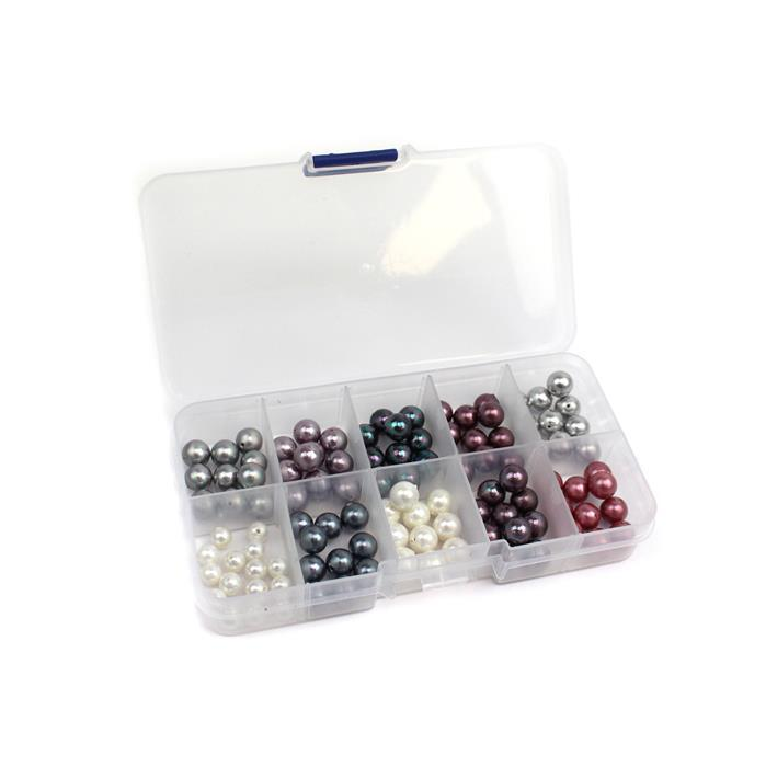105pc Shell Pearl Bundle With Storage Box Approx 8mm & 6mm