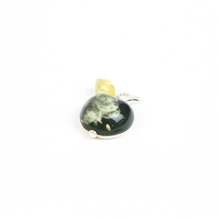 Sterling Silver Baltic Green and Lemon Amber Apple Charm Approx 11x17mm