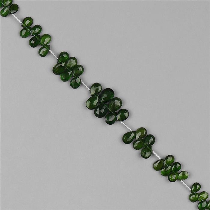 36cts Chrome Diopside Graduated Faceted Pears Approx 3x2 to 8x5mm, 18cm Strand.