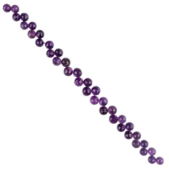 100cts Amethyst Graduated Faceted Corner Drilled Rounds Approx 6 to 7mm, 18cm Strand.