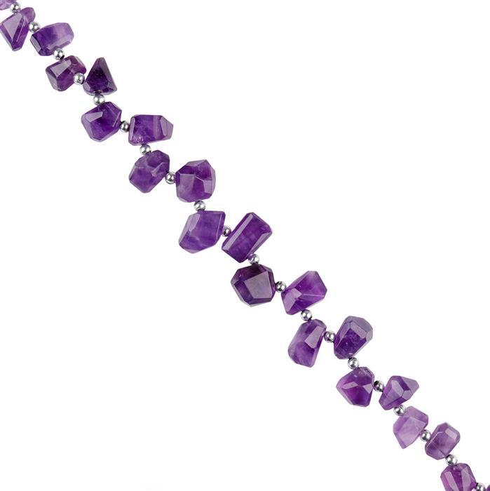 196cts Amethyst Graduated Faceted Medium Nuggets Approx 10x8 to 15x10mm, 20cm Strand.