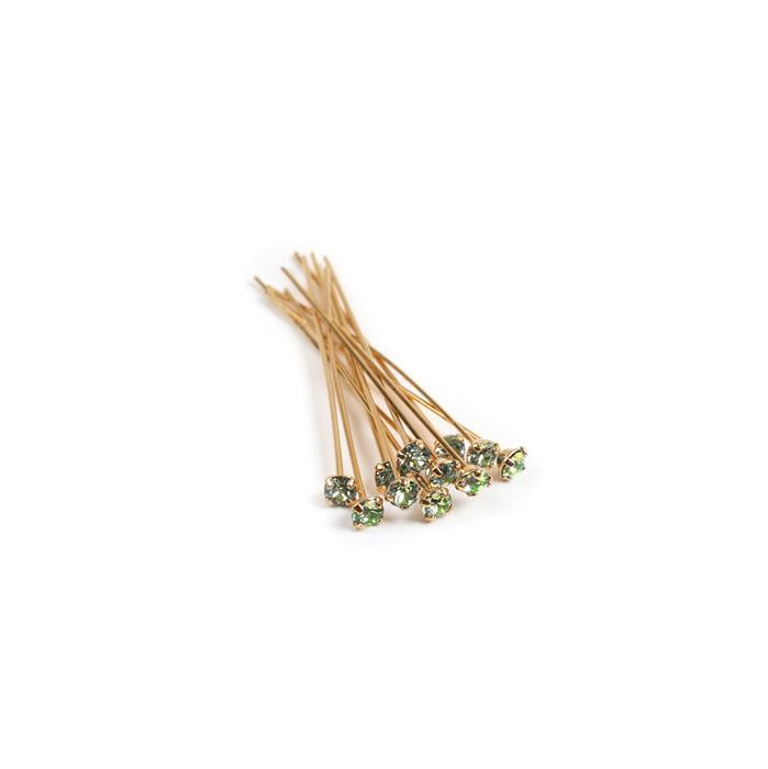 Swarovski Headpin 17704 Peridot with Gold Plating, PP24, 0.05x3.81cm, 12pk