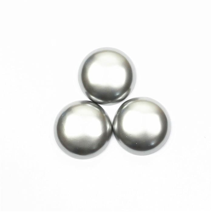 Silver Grey Shell Pearl Round Cabochon Approx 30mm (3PCS)