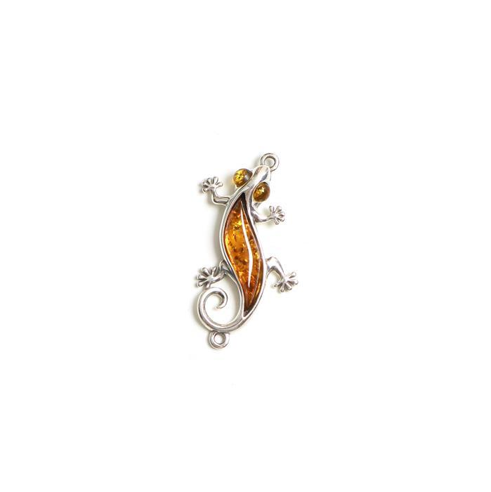 Baltic Cognac Amber Lizard Sterling Silver Connector Approx 32x16mm