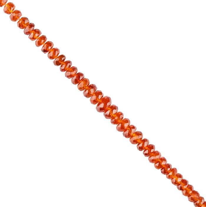 45cts Hessonite Garnet Graduated Faceted Rondelles Approx 3x1 to 5x3mm, 18cm Strand.