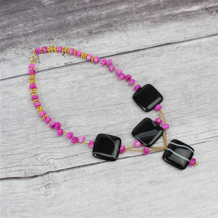 Flamingo INC Black Stripe Agate Puffy Squares & 2 strands Pink Crazy Lace Agate Wheels