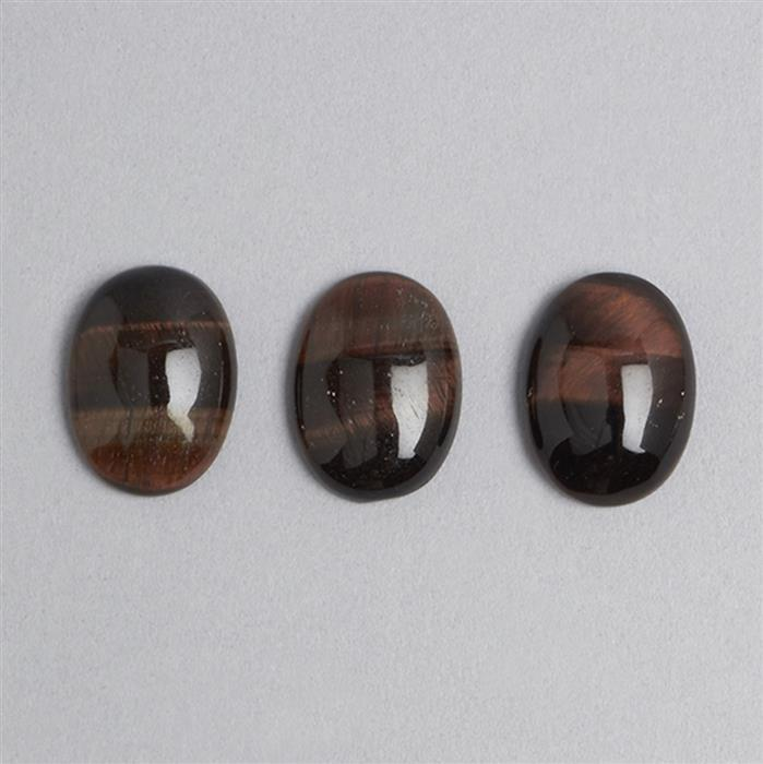 30ct Red Tigers Eye Oval Cabochons Approx 16x22mm 3pcs/set