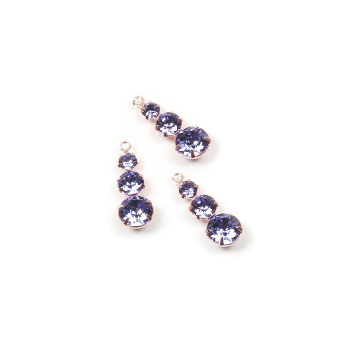 Swarovski Multi Stone Pendant, Tanzanite, Rose Gold, 24x8.5mm, 3pk