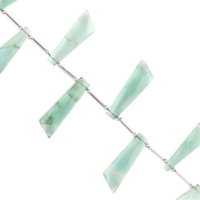 80cts Green Fluorite Graduated Faceted Fancy Approx 15x9 to 27x8mm, 10cm Strand.