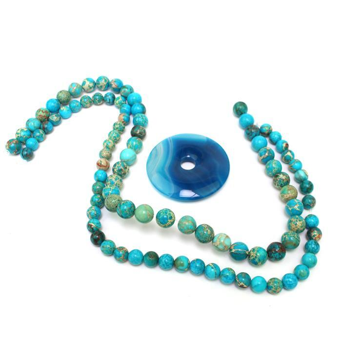 Light Blue; 110cts Blue Stripe Agate Donut Approx 50mm, Sky Blue Variscite Rounds 8 & 10mm