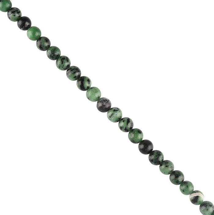 100cts Ruby Zoisite Plain Rounds Approx 8mm, 18cm Strand.