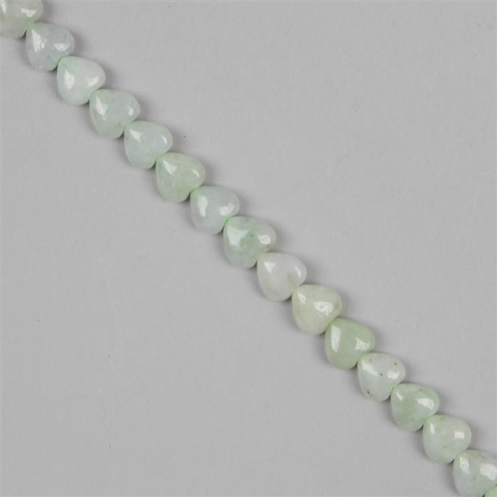 70cts Burmese Jadeite Puffy Hearts Approx 8mm 30cm Length