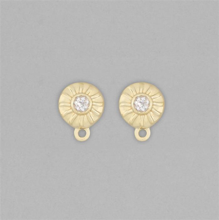 Gold Plated 925 Sterling Silver Stud Earrings with Loops Approx 11x8mm Inc. 0.25cts White Topaz Round Approx 3mm