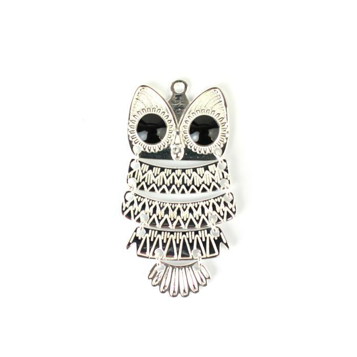 925 Sterling Silver Slinky Owl Pendant Approx 40x22mm, 1pc