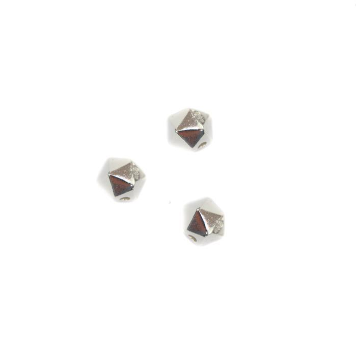 925 Sterling Silver Hexagonal Spacer Beads Approx 6mm  3pcs