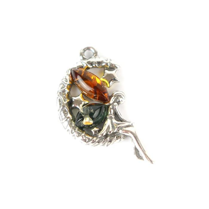 Baltic Multi-Colour Amber Moon Fairy Pendant with 925 Sterling Silver Pendant Approx 20x10mm