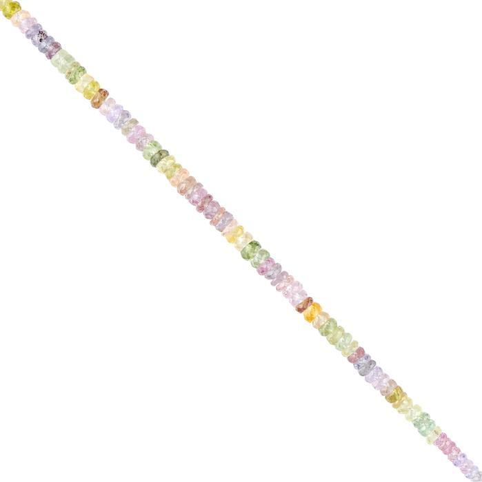 25cts Multi-Colour Sapphire Graduated Faceted Wheels Approx 3x1 to 4x2mm, 18cm Strand.