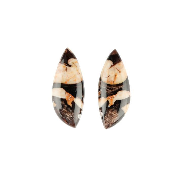 18cts Peanut Wood Jasper Fancy Shape Cabochons 30x12mm. (1 Pair)