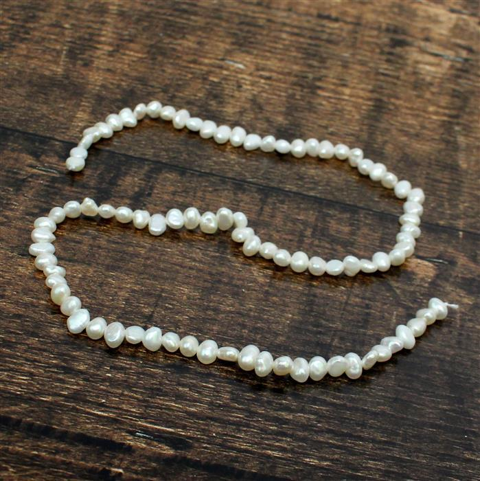 White Freshwater Cultured Pearl Nuggets Approx 4x5 to 4x6mm, 38cm strand