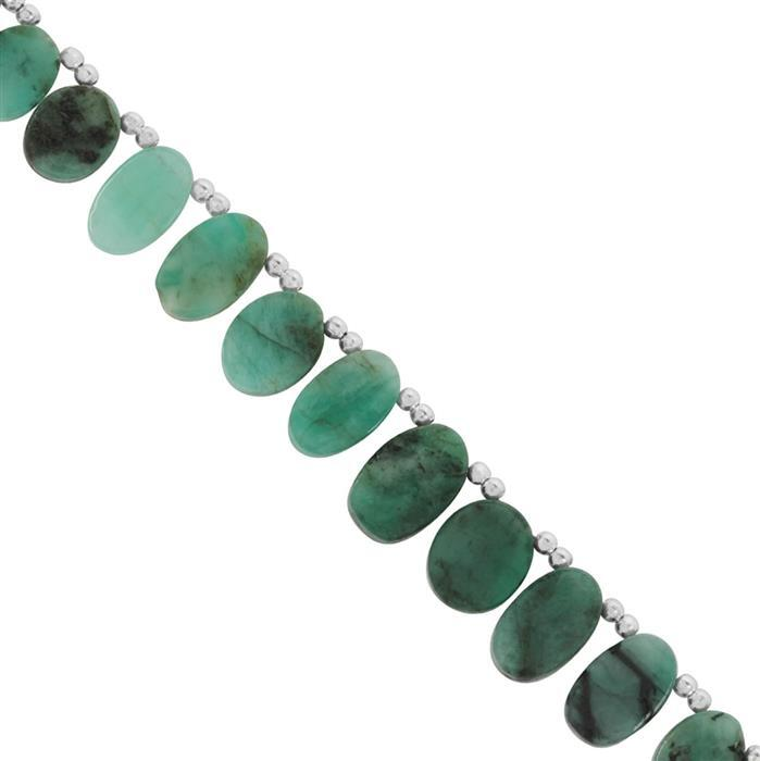 55cts Emerald Side Drill Smooth Fancy Approx 6.50x4.50 to 15x10mm, 18cm Strand With Spacers