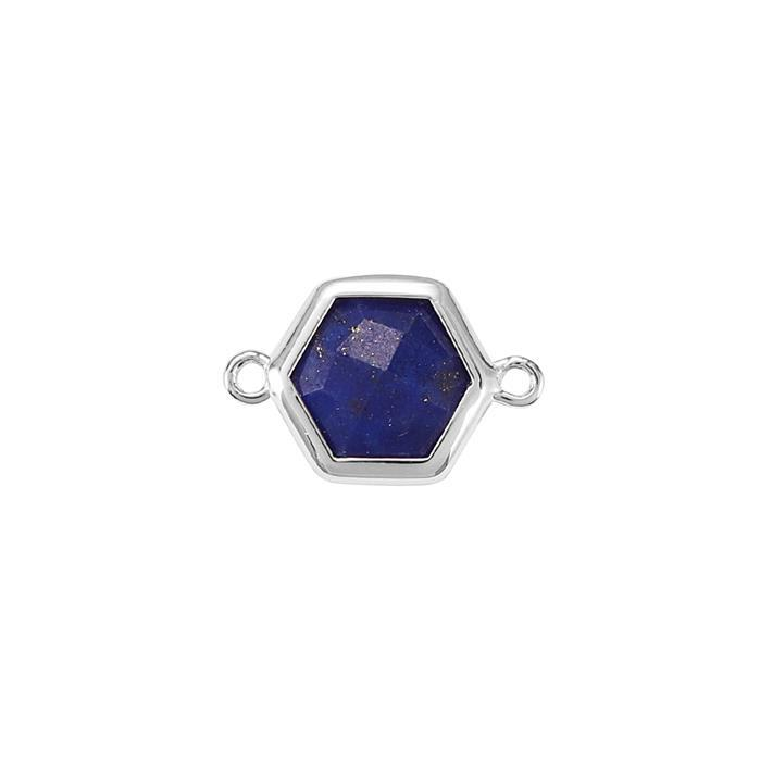 925 Sterling Silver Bezel Connector Approx 16x10mm Inc. 1.70cts Lapis Lazuli Briolette Cut Hexagon Approx 8mm.