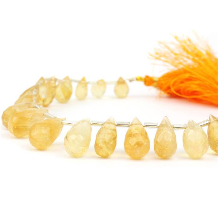 98cts Citrine Graduated Faceted Drops Approx 6x4 to 15x8mm, 18cm Strand.