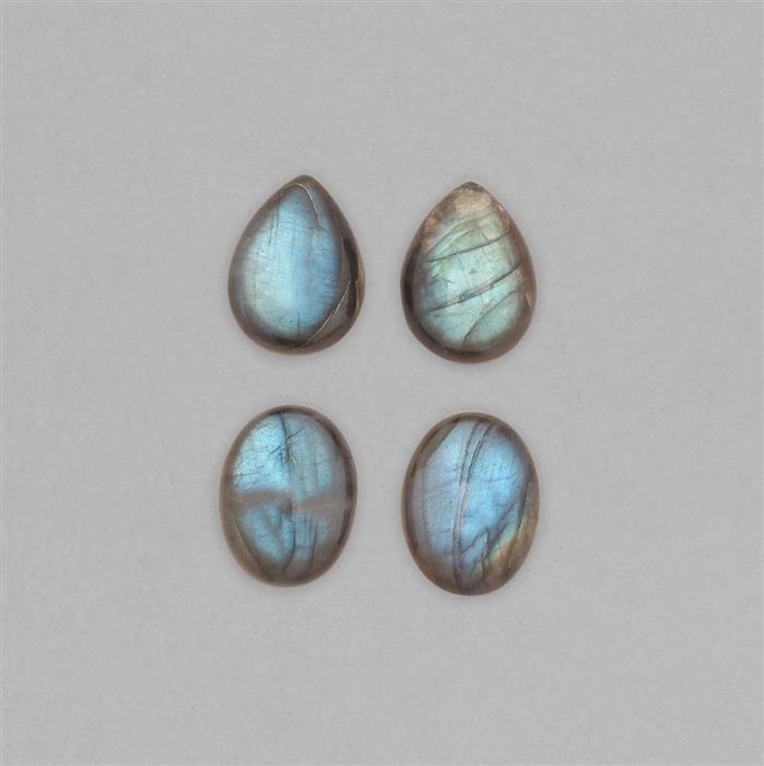 55cts Labradorite Smooth Cabochons Assortment Inc. Oval 20X15mm & Pear 20X15mm. 4pcs.