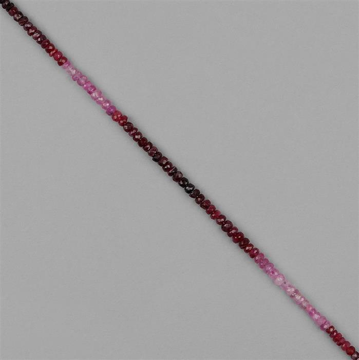 22cts Ombre Mozambique Ruby Graduated Faceted Rondelles Approx 2x1 to 3x2mm, 18cm Strand.