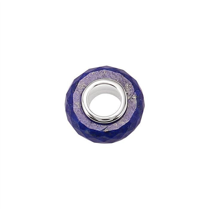 9cts Lapis Lazuli Faceted Charm with Sterling Silver Eyelet Approx 15x6mm and Drill Size 6mm.
