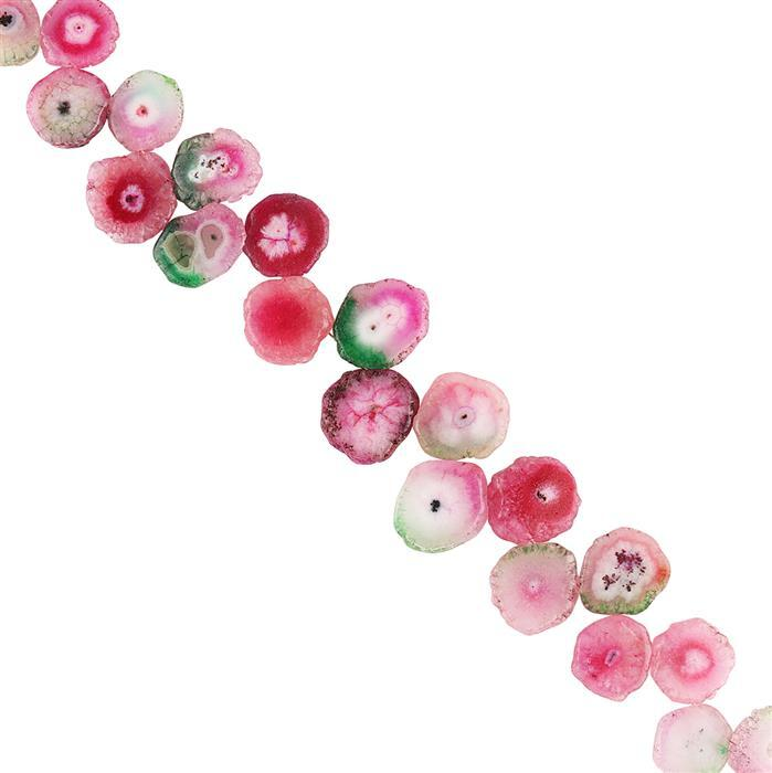 190cts Watermelon Solar Quartz Graduated Corner Drilled Plain Slices Approx 11x2 to 18x4mm, 18cm Strand.