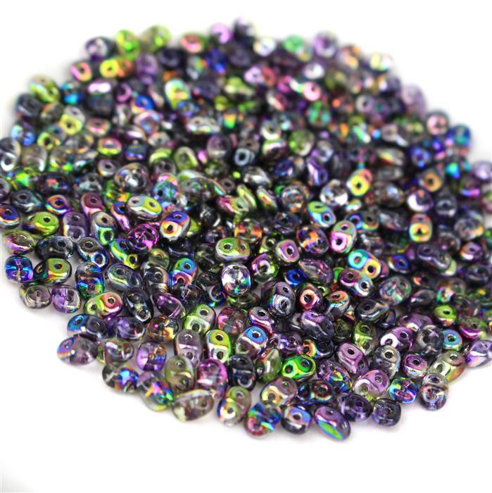 SuperDuo Crystal Magic Violet Grey Beads Approx 2.5x5mm (22.5GM/TB)