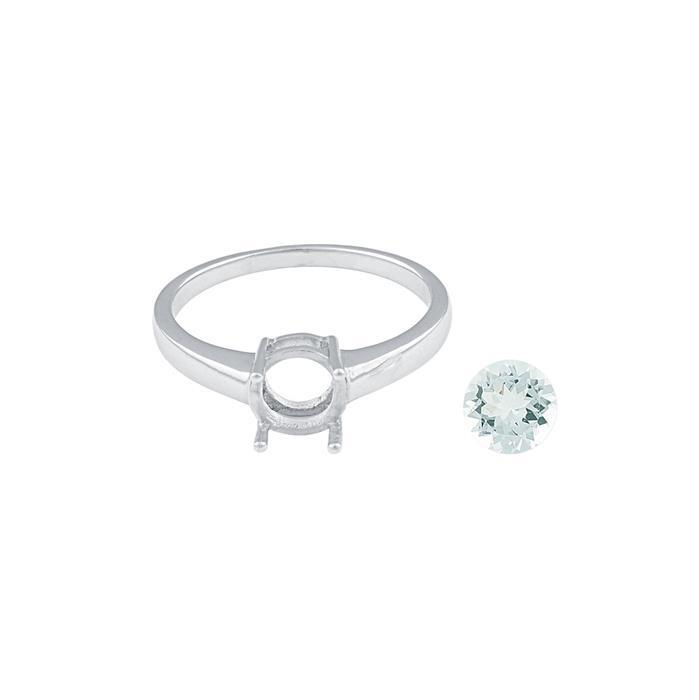 Size 9 - 925 Sterling Silver Ring Mount Fits Inc. 0.90cts Aquamarine Brilliant Cut Rounds 7mm.