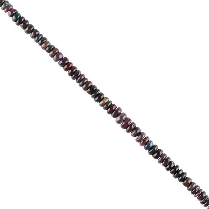 15cts Black Ethiopian Opal Graduated Plain Rondelles Approx 2x1 to 4x2mm, 16cm Strand.